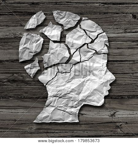 Child abuse concept and physical or emotional damage in children as a victim of violence or assault as a crumpled paper on rustic wood shaped as the head of a young neglected person as a psychology metaphor in a 3D illustration style.