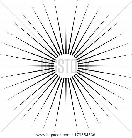 Radiating Circular Lines Abstract Monochrome Symbol On White (can Be Used As A Symbol Or Background)
