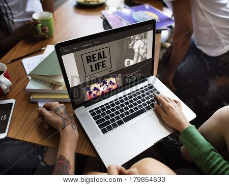 People Friendship Togetherness Laptop Technology Concept