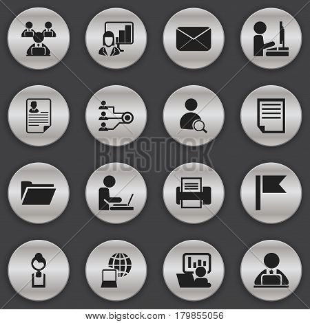Set Of 16 Editable Bureau Icons. Includes Symbols Such As Pennant, Publicity, Document And More. Can Be Used For Web, Mobile, UI And Infographic Design.