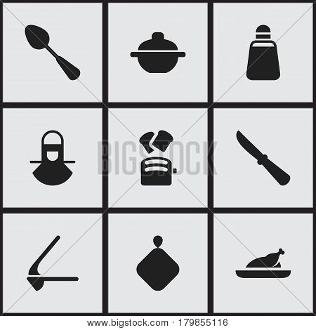 Set Of 9 Editable Food Icons. Includes Symbols Such As Rocker Blade, Crusher, Kitchen Blade And More. Can Be Used For Web, Mobile, UI And Infographic Design.