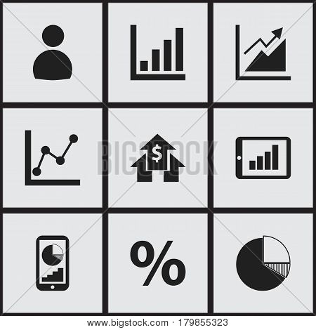 Set Of 9 Editable Logical Icons. Includes Symbols Such As User, Phone Statistics, Graph Information And More. Can Be Used For Web, Mobile, UI And Infographic Design.