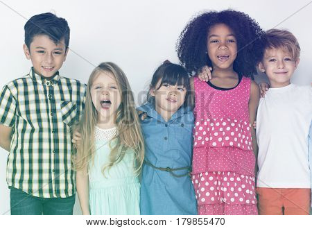 Diverse group of kids standing in a row portrait