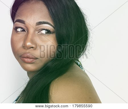 African Woman Serious Face Expression Studio