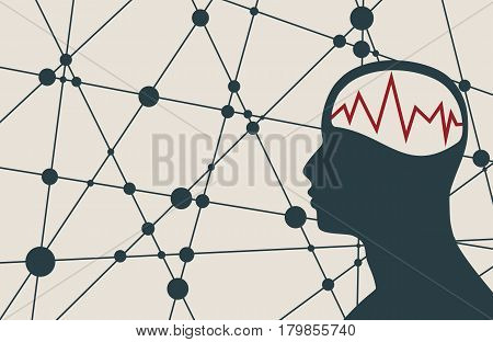 Silhouette of a man's head with oscillogram. Mental health relative brochure, report or flyer design template. Scientific medical designs. Connected lines with dots. Vector illustration