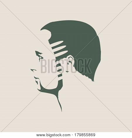 Vector profile view of bearded man. Isolated male face silhouette or icon