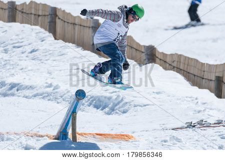 Diogo Pombeiro During The Snowboard National Championships