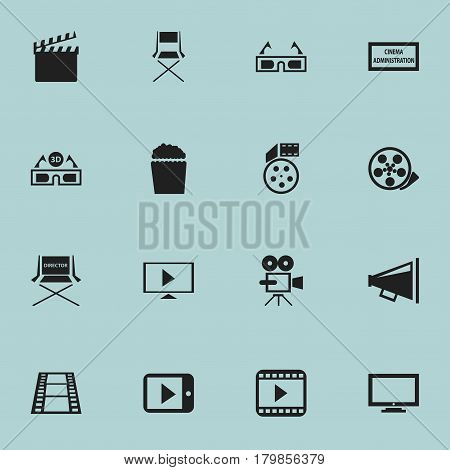 Set Of 16 Editable Movie Icons. Includes Symbols Such As Chair, Movie Player, Start Video And More. Can Be Used For Web, Mobile, UI And Infographic Design.