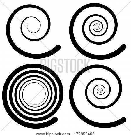 Set Of 4 Spiral Shape, Spiral Design Elements