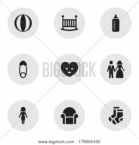 Set Of 9 Editable Kin Icons. Includes Symbols Such As Soul, Child Cot, Fasten And More. Can Be Used For Web, Mobile, UI And Infographic Design.