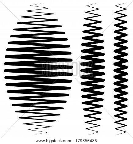 Vertical Criss-cross Wavy Zigzag Lines. Set Of More Versions.