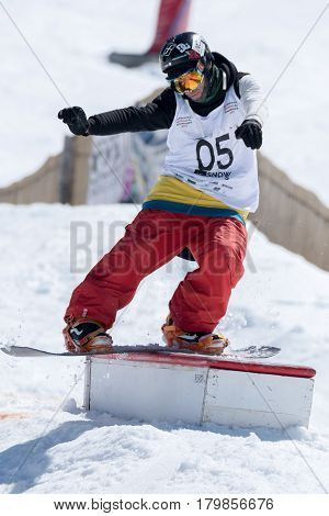 Michael Cruz During The Snowboard National Championships