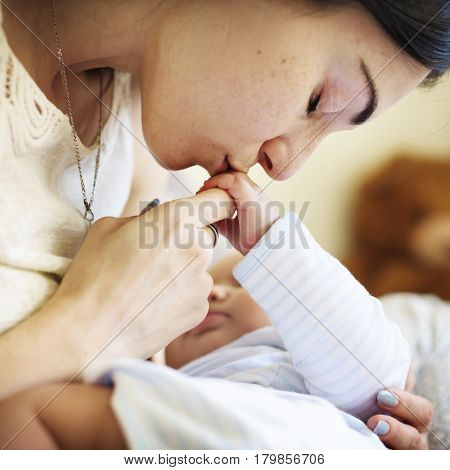 Mother and Baby Newborn Love Emotional Family
