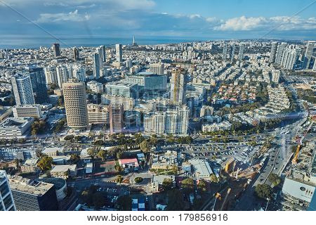 Tel Aviv - February 2, 2017: Aerial Photography Of The City Tel Aviv