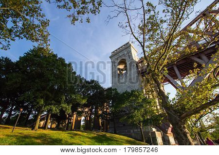 The part of the Hell Gate Bridge at Astoria park, New York