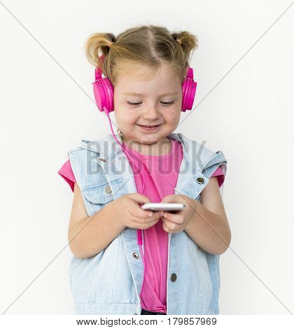Little GIrl Smiling Happiness Music Headphones
