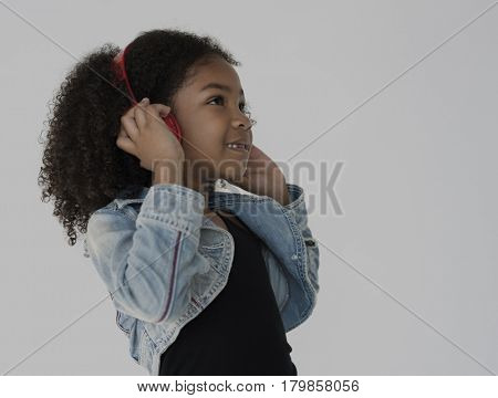 African Girl Listening Music Headphone