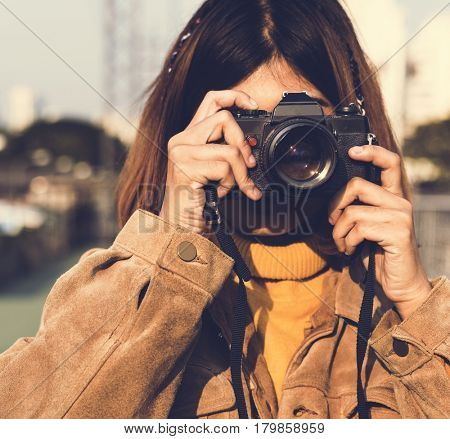 Girl with Glasses Taking Photos Camera