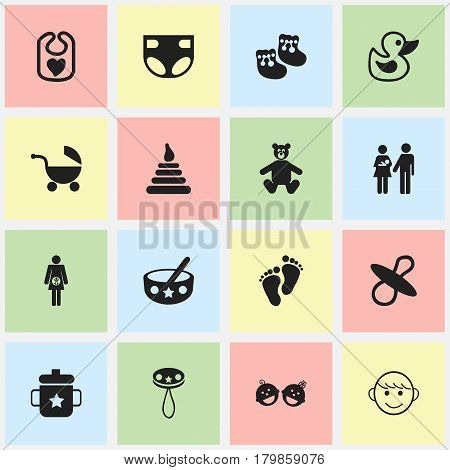 Set Of 16 Editable Kid Icons. Includes Symbols Such As Bath Toys, Soothers, Shoes For Babies And More. Can Be Used For Web, Mobile, UI And Infographic Design.