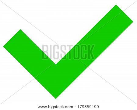 Simple Flat Green Checkmark, Tick Icon On White