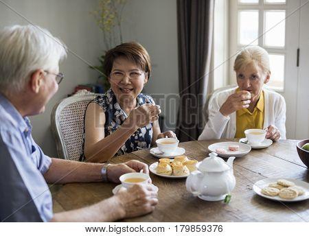 Senior Lifestyle Tea Break Togetherness