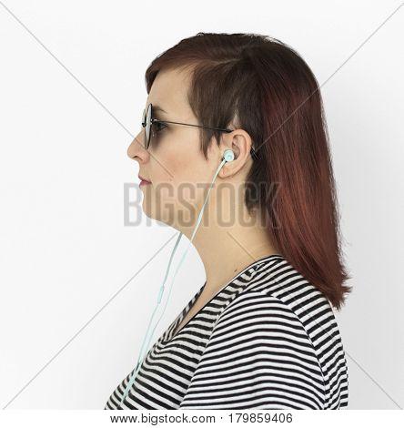 Woman Earphones Music Entertainment Studio Portrait