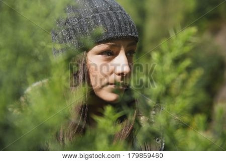 Woman Leaves Nature Environment Calm Relaxation Concept