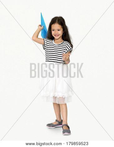 Little Girl Paper Plane Studio Portrait