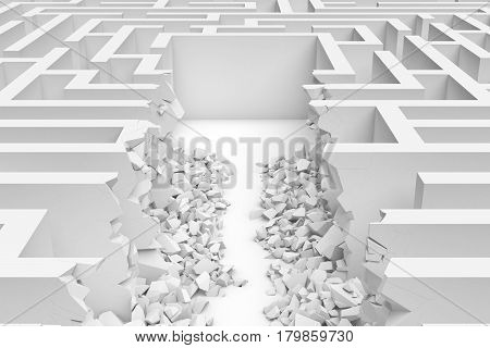 3d rendering of a white square maze with a direct route cut right to the center in close up view. Puzzles and problems. Unexpected solutions. Mazes and labyrinths.