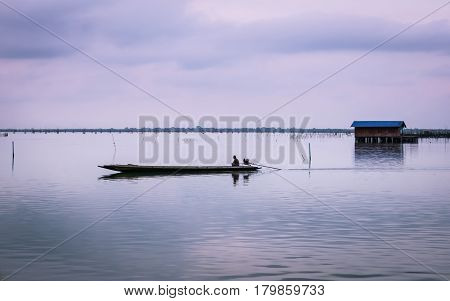 Gulf of Thailand long tailed boat southern of thailand floating on clear sea water