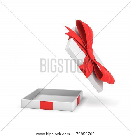 3d rendering of a white flat gift box with a red bow on white background with opened lid hanging high above. Special offer. Gifts and promotions. Empty box.