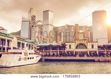 Sunset Over Central Pier In Hong Kong