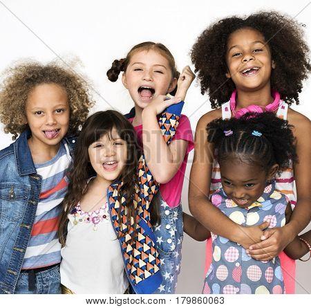 Children Smiling Happiness Friendship Togetherness Studio Portrait