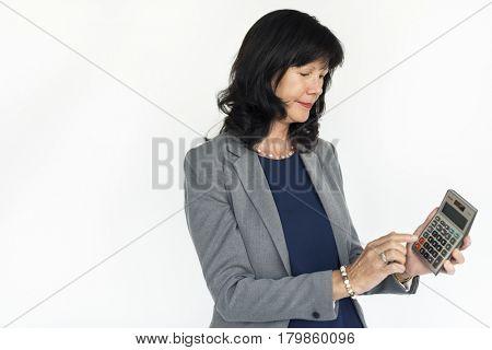 Businesswoman Smiling Happiness Calculator Success Portrait Concept