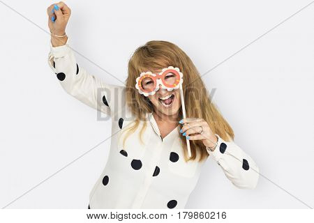 Mature Lady Having Fun Mask Carnival Concept