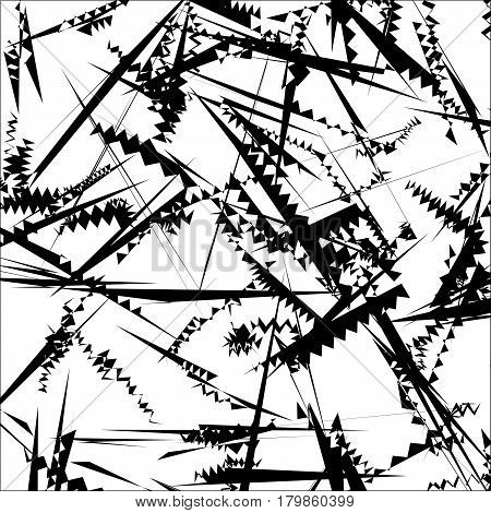 Geometric Pattern Of Chaotic Random Shapes. Rough Edgy Texture.  Abstract Monochrome Background, Abs