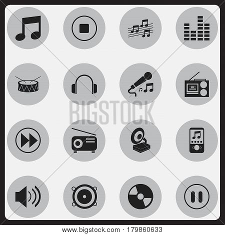 Set Of 16 Editable Melody Icons. Includes Symbols Such As Sound, Snare, Cassette Player And More. Can Be Used For Web, Mobile, UI And Infographic Design.