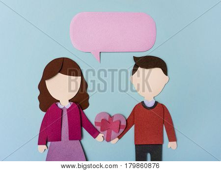 Valentine's Day Couple Lover Paper Mockup