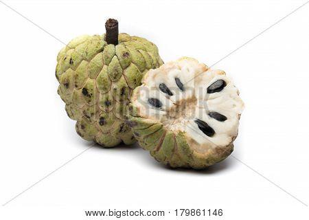 Sugar Apple Custard Apple, Annona, Sweetsop On White Background