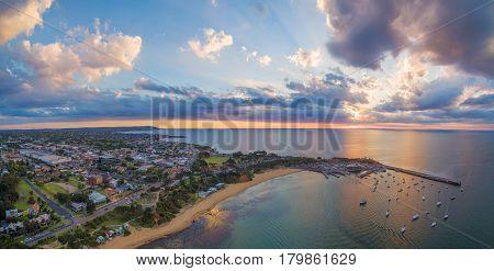 Aerial Panorama Of Beautiful Coastline In Australia At Sunset. Melbourne, Victoria, Australia.