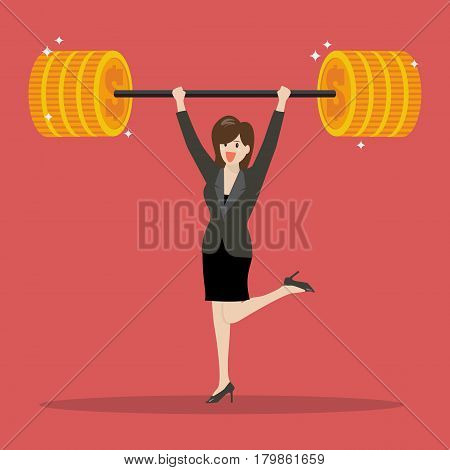 Business woman lifting a heavy weight. Business concept