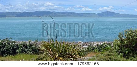 Panoramic view of the Kapiti Coast from Kapiti Island Bird Sanctuary. In the background is Paraparaumu Waikanae and Raumati.