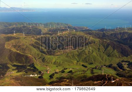 Aerial view of the Wind Farm Electricity generation on the Makara Hills in the western suburbs of Wellington city New Zealand.