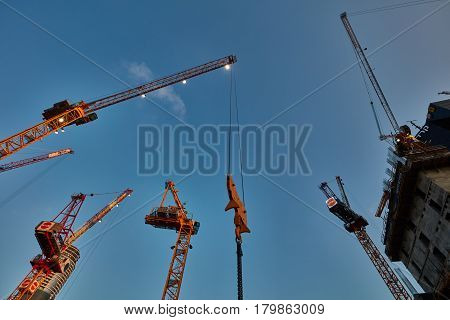 Tel-aviv - 9 December, 2016: Construction Cranes Work In Tel Aviv