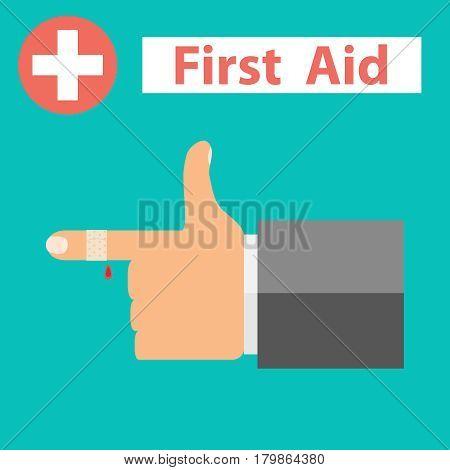 Bandaged finger first aid. Flat design vector illustration vector.