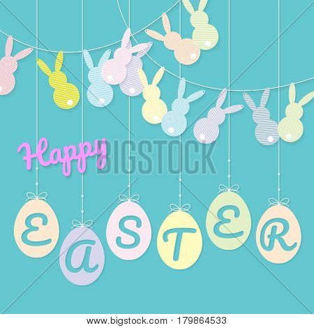 Shape of rabbits was decorated as bunting flags and shape of hanging eggs with greeting on. Paper cutting style. Vector illustration.