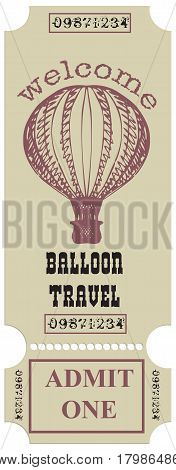 A vintage ticket for the Aeronautic Journey. Vector illustration.