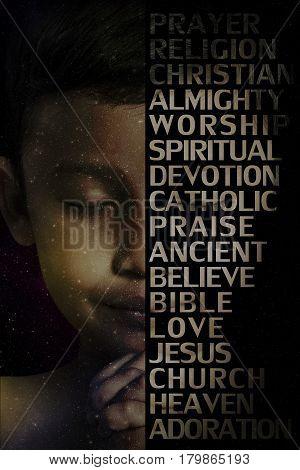 Child praying and praising God with worship word.