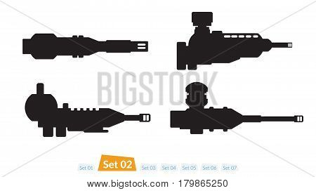 Set of Spaceship weapons silhouette set two