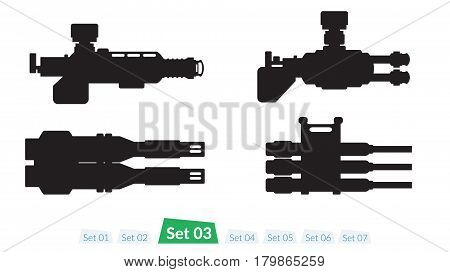 Set of Spaceship weapons silhouette set three